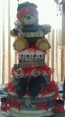 Michael Jordan theme 3 tier diaper cake-made to order.