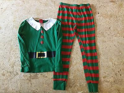 Kids unisex Christmas Elf holiday pajamas pjs green red striped size 6