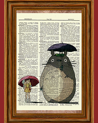 My Neighbor Totoro Dictionary Art Print Poster Picture Anime Ghibli Umbrella