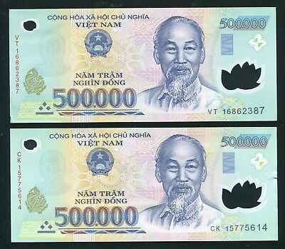 1 Million dong VietNam Currency 2 x 500,000 500000 dong UNC with minor wrinkle