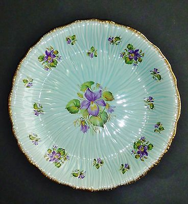 CROWN DUCAL blue VIOLETS PLATE embossed SHABBY CHIC VINTAGE English display