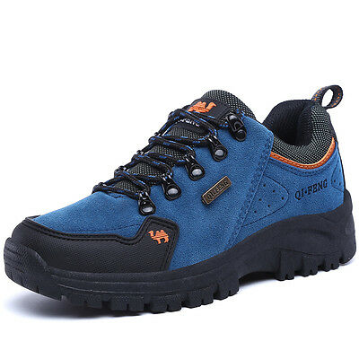 Mens Walking Hiking Trail Outdoors Ventilated Waterproof Blue Shoes 7 8 10.5