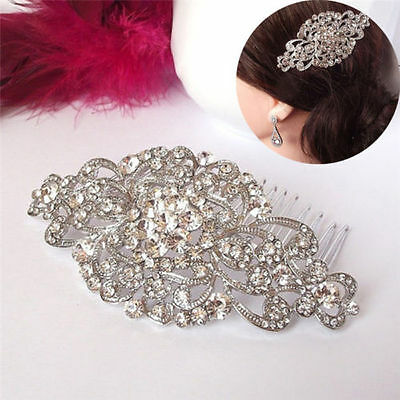 VINTAGE Style HAIR COMB Silver Crystal Bridal Wedding Girl Bridesmaid Art Deco
