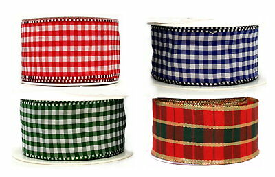 38mm GINGHAM/TARTAN SATIN WIRED RIBBON~DOUBLE SIDED~DECORATIVE EDGE~CAKES~BOWS