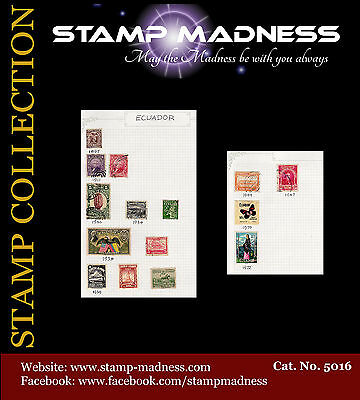 Ecuador Collection 1897 - 1972 Stamps hinged on sheet Used bulk estate buy