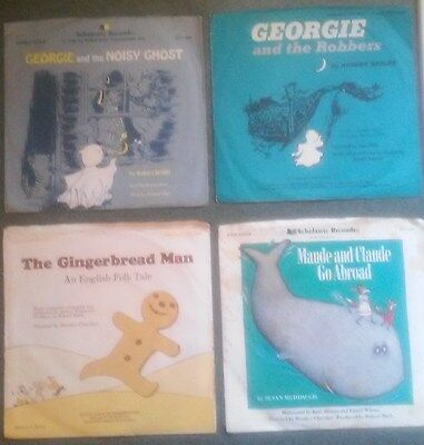 Scholastic Records 33 1/3 rpm Vintage lot of 4 GEORGIE and the Noisy Ghost etc.