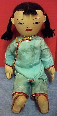 """Rare Vintage Asian Doll Stuffed Fabric Embroidered Face Appr 12"""" Tall Handmade"""