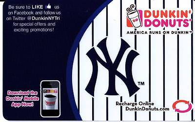 Dunkin Donuts Ny New York Yankees Rechargable Gift Card *no Value* Coffee Bagels