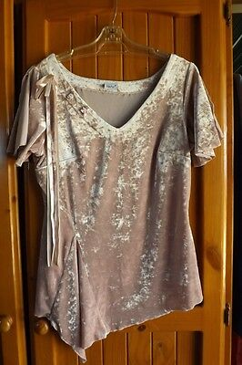 Stunning Vintage Crushed Velvet Party Top Dusty Pink UK size 14 Euro 40