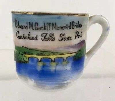 Vintage mini Cumberland Falls KY Souvenir Cup Gatliff Bridge Hand Painted JAPAN