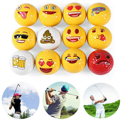 12 Styles Funny Emoji Yellow Golf Ball For Outdoor Sport Training Accessory