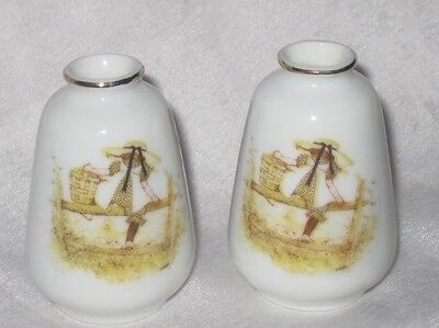 Pair of Vintage Holly Hobbie Porcelain Vases Candle Holders