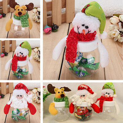 Christmas Santas Snowman Clear Plastic Candy box Gift cans Storage Bottle