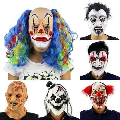 AU Scary Latex Clown Horror Mask Halloween Masquerade Party Fancy Dress Up Mask