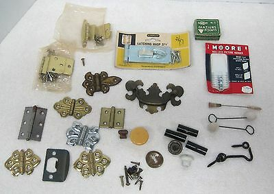 Large Lot Vintage Household Hardware Plus! Hinges Drawer Pulls Brushes Latch MOR