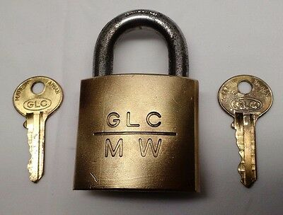 Vintage GLC MW Hardened Solid Brass Padlock with Two Original keys Lock