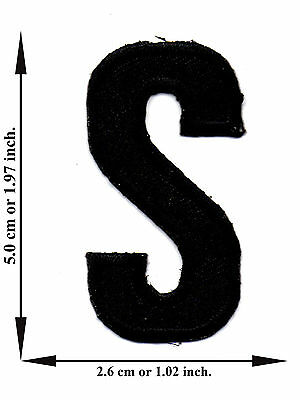 Alphabet S Black Color English Letter Applique Iron on Patch Sew For T-shirt