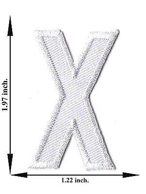 Alphabet X White Color English Letter Applique Iron on Patch Sew For T-shirt