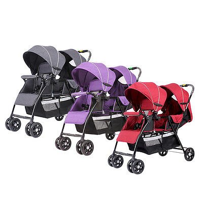 Twin Baby Stroller Double System Folding Baby Pram Jogger 2 Seats New