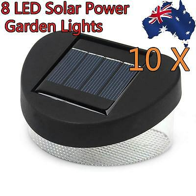 10x 8LED Fence Gutter Light Solar Powered Outdoor Garden Cool White Pathway Lamp