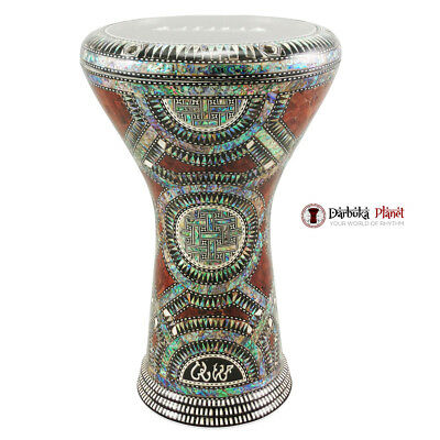 17'' Egyptian Green Crown With Green Mother of Pearl Gawharet El Fan Darbuka