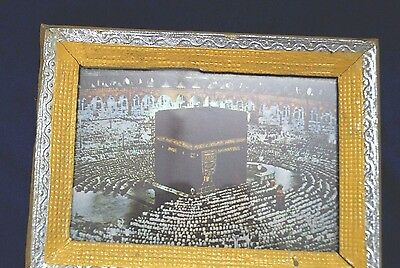 Vintage Beautiful Islamic Print Mecca Litho Calligraphy Print With Wood F