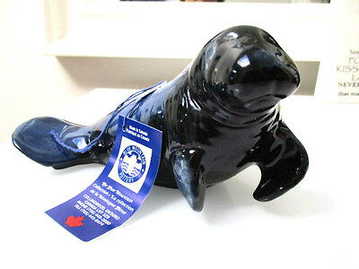 Blue Mountain Pottery Blue dugong Statue & Label Hand Made Canadian 21cm L