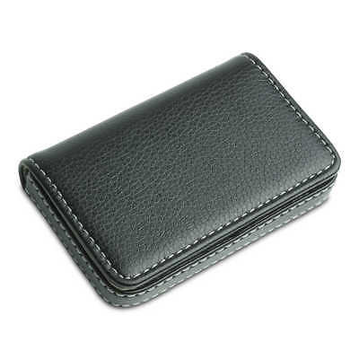 Magnetic Pocket PU Leather Business Name ID Credit Card Holder Wallet Case Black