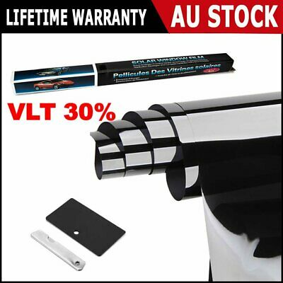 Window Tint Film Black 30% VLT 760mm X 7m Roll + Window Tinting Tools Kit