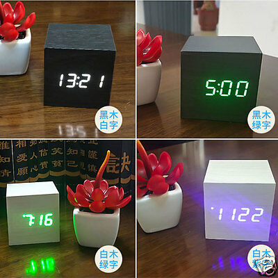 USB Sound Control Wood Digital LED Desk Alarm Clock Thermometer Timer Decor New