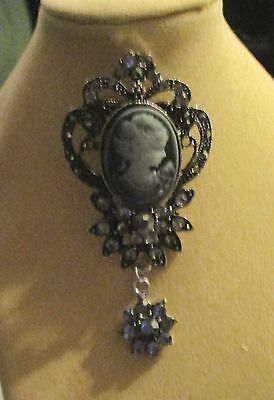 Civil War Dress Victorian Style~Sweet Smokey Gray On Faux Silver Cameo Brooch