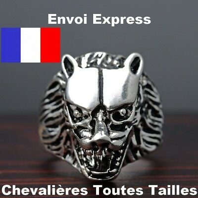 Bague Chevaliere Tete De Loup Garou Acier Massif 316L Biker Stark Game Of Throne