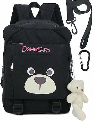 Toddler Kids Cotton Backpack with Anti Lost Leash Bear Kindergarten BoyBlack