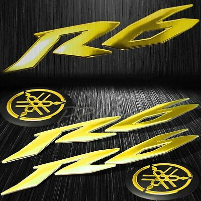 "6"" ABS 3D Logo Emblem+2""Fairing/Fender Badge Sticker for YZF-R6/R6S Chromed Gold"