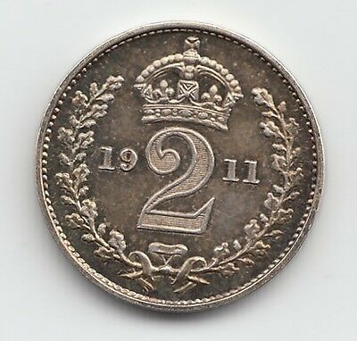 Very Rare George V 1911 Proof Silver Maundy Two Pence 2d