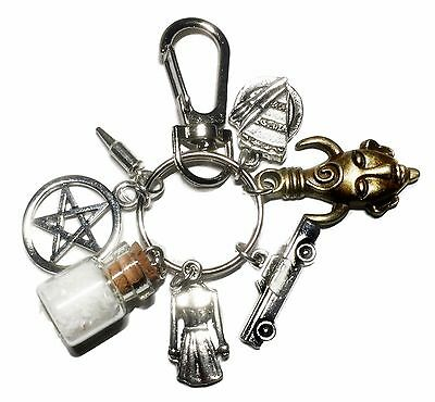 Supernatural TV Series Salt Bottle Protection Charms Keychain