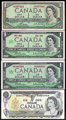 1954 1967 x 2 1973 $1.00 ~ OLD Bank of Canada Paper LAST FOUR One Dollar Bills