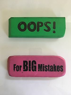 Two Jumbo Size Erasers Oops! And For Big Mistakes Set Slightly Used & Cheap
