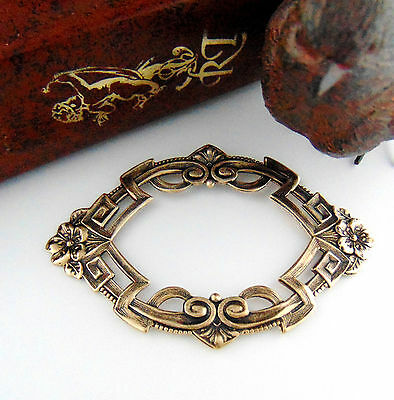 ANTIQUE BRASS Art Deco Flower Frame Stamping ~ Oxidized Finding (C-805)