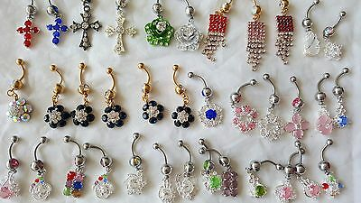 Body Piercing Jewelry Belly Bars Job Lot Blue Titanium Diamanté