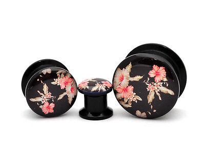 Pair of Black Acrylic Vintage Floral Style 5 Picture Plugs gauges 8g - 1 inch