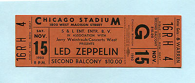 Original 1980 Led Zeppelin unused concert ticket Chicago Through The Out Door f