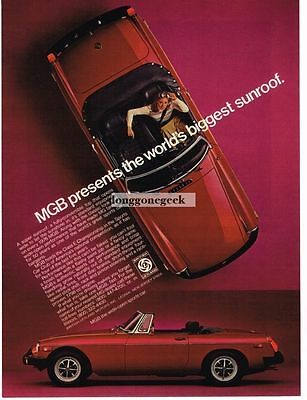 1976 MGB Red World's Biggest Sunroof Vtg Print Ad