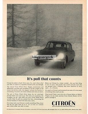 1967 Citroen DS-21 Driving in Snow Storm  Vtg Print Ad
