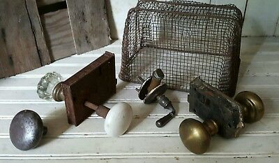 Vintage door assembly handles knobs plates Antique pull Lot screen crystal brass