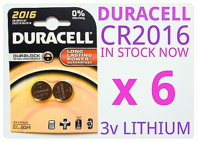 6 x 3v Duracell Lithium Coin Cell Button Battery CR2016 2016 DL2016 BR2016 NEW