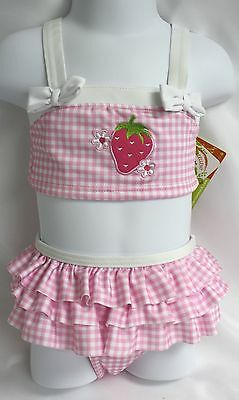 Penelope Mack Toddler Girls Swimsuit Pink Checked Strawberry Swim Suit 2 Piece
