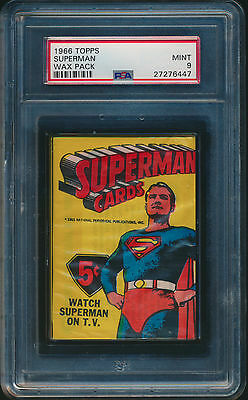 1966 Topps Superman Factory Sealed Wax Pack Encased And Graded Psa 9 Mint #6447