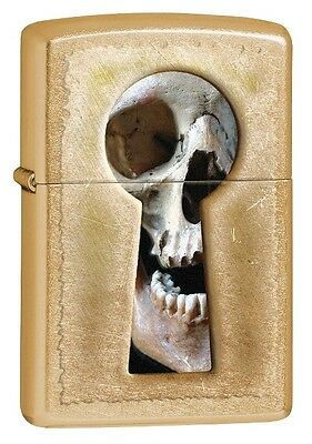 Zippo Choice Keyhole Skull Original WindProof Gold Dust Finish 28540 NEW L@@K
