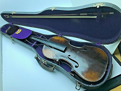 1879 - Antique Vintage German Made Violin + Erich Steiner violin bow + Case